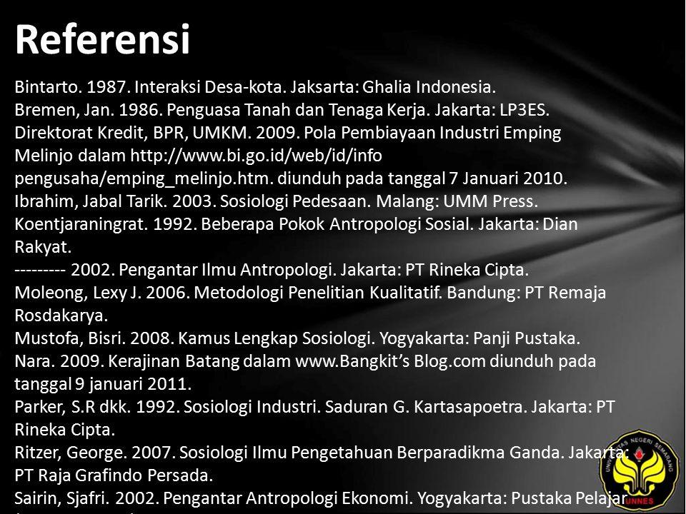 Referensi Bintarto. 1987. Interaksi Desa-kota. Jaksarta: Ghalia Indonesia.