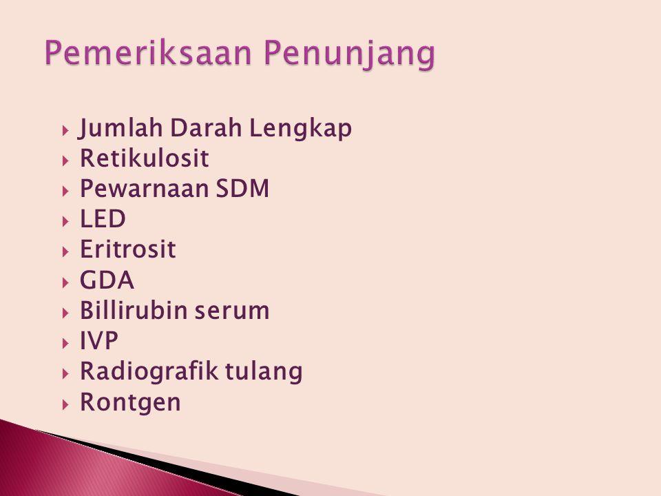 Jumlah Darah Lengkap  Retikulosit  Pewarnaan SDM  LED  Eritrosit  GDA  Billirubin serum  IVP  Radiografik tulang  Rontgen