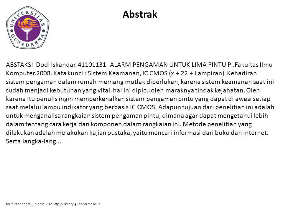Abstrak ABSTAKSI Dodi Iskandar.41101131.