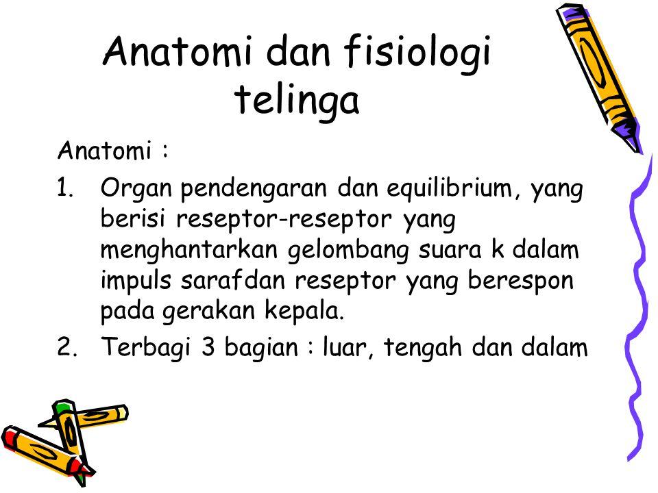 Anatomi dan fisiologi telinga Anatomi : 1.Organ pendengaran dan equilibrium, yang berisi reseptor-reseptor yang menghantarkan gelombang suara k dalam