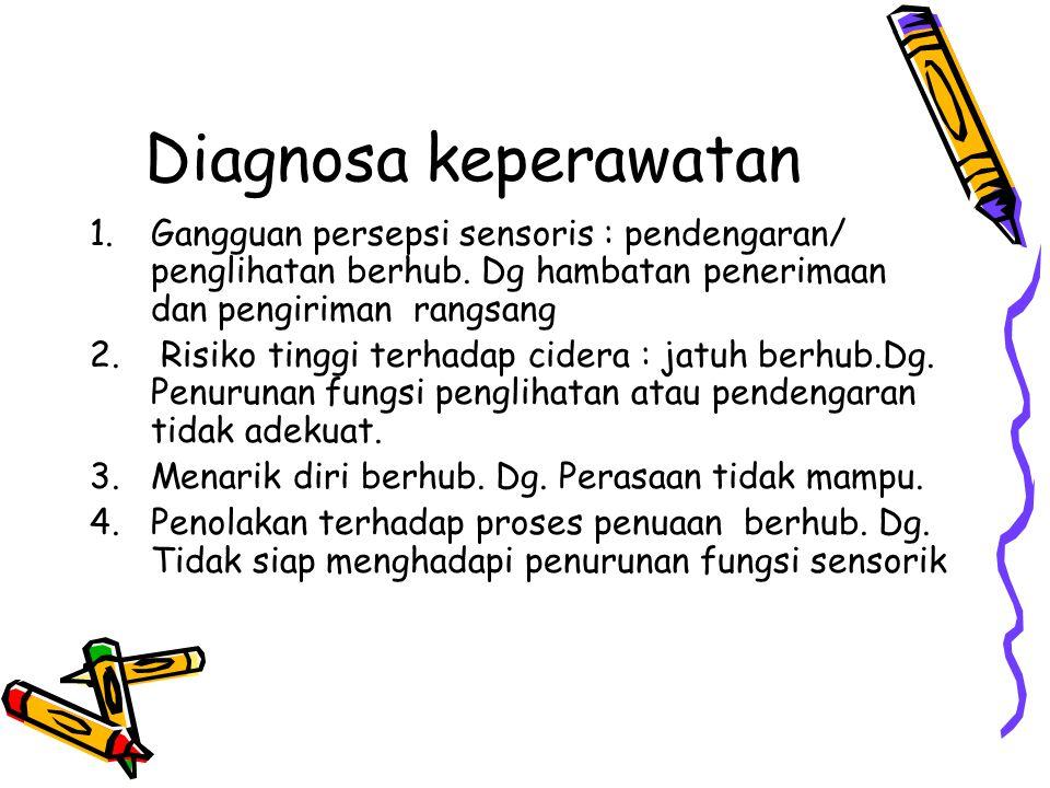 Diagnosa keperawatan 1.Gangguan persepsi sensoris : pendengaran/ penglihatan berhub. Dg hambatan penerimaan dan pengiriman rangsang 2. Risiko tinggi t