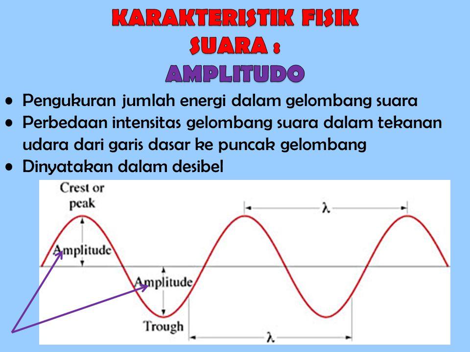 Pengukuran jumlah energi dalam gelombang suara Perbedaan intensitas gelombang suara dalam tekanan udara dari garis dasar ke puncak gelombang Dinyataka