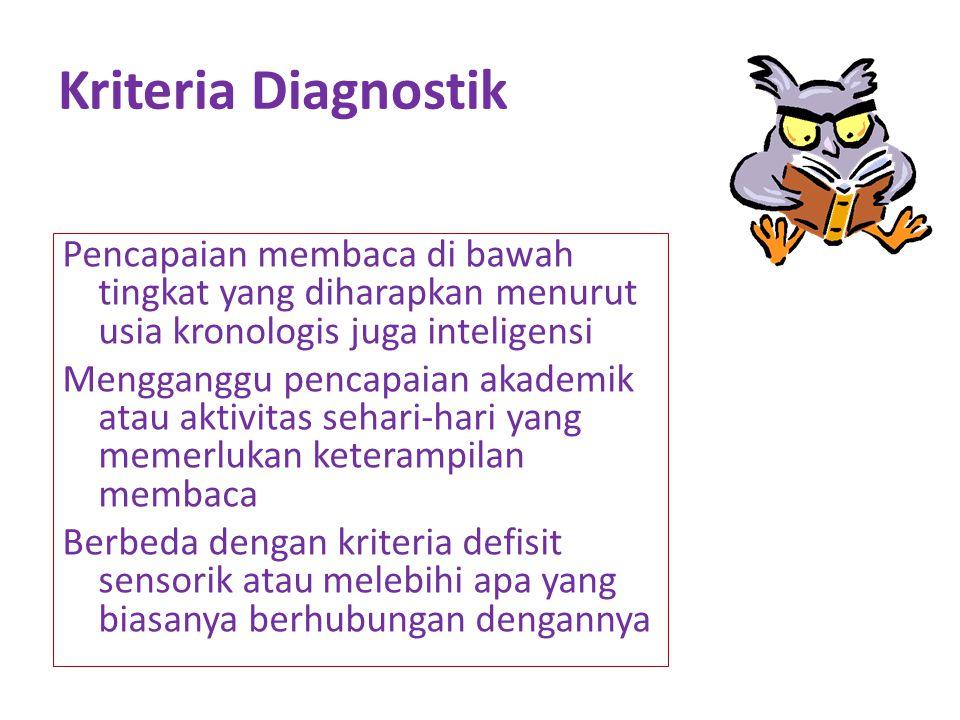 Kriteria Diagnostik Pencapaian membaca di bawah tingkat yang diharapkan menurut usia kronologis juga inteligensi Mengganggu pencapaian akademik atau aktivitas sehari-hari yang memerlukan keterampilan membaca Berbeda dengan kriteria defisit sensorik atau melebihi apa yang biasanya berhubungan dengannya