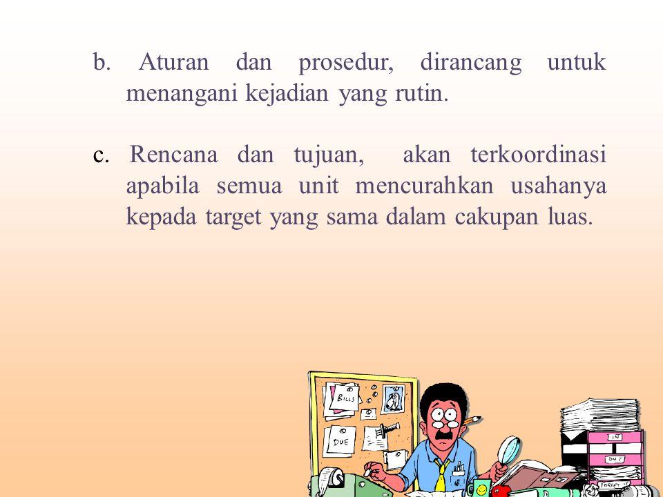 b.Aturan dan prosedur, dirancang untuk menangani kejadian yang rutin.