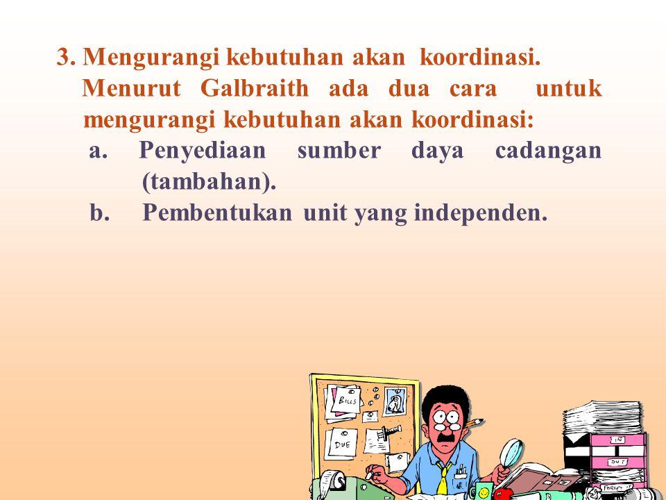 3.Mengurangi kebutuhan akan koordinasi.