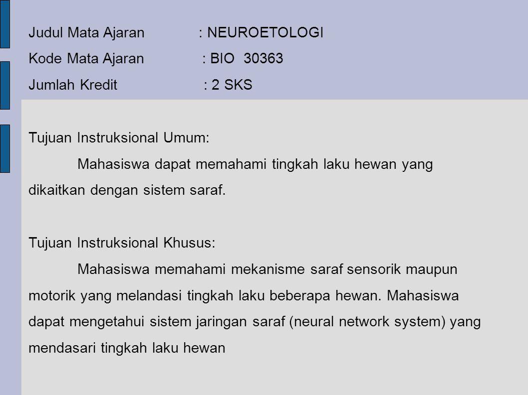 Judul Mata Ajaran : NEUROETOLOGI Kode Mata Ajaran : BIO 30363 Jumlah Kredit : 2 SKS Tujuan Instruksional Umum: Mahasiswa dapat memahami tingkah laku h
