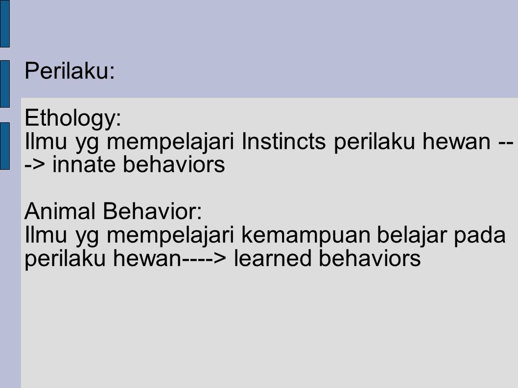 Perilaku: Ethology: Ilmu yg mempelajari Instincts perilaku hewan -- -> innate behaviors Animal Behavior: Ilmu yg mempelajari kemampuan belajar pada pe