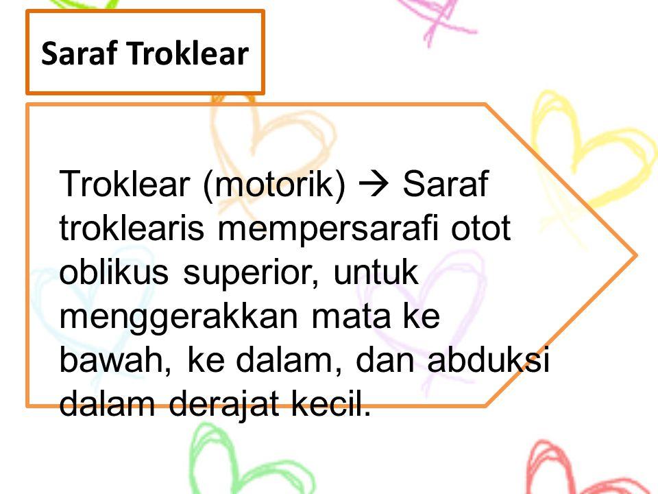 Saraf Troklear Troklear (motorik)  Saraf troklearis mempersarafi otot oblikus superior, untuk menggerakkan mata ke bawah, ke dalam, dan abduksi dalam