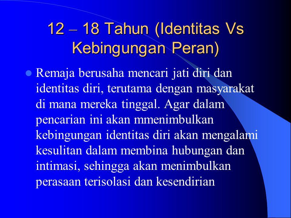 12 – 18 Tahun (Identitas Vs Kebingungan Peran) Remaja berusaha mencari jati diri dan identitas diri, terutama dengan masyarakat di mana mereka tinggal