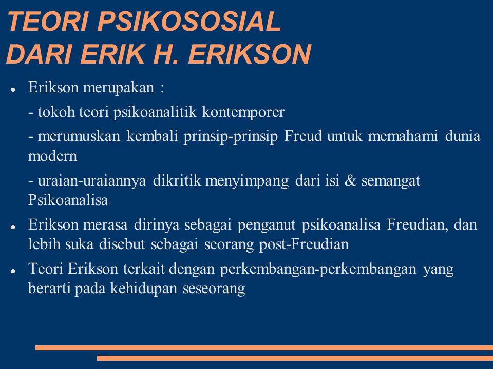 TEORI PSIKOSOSIAL DARI ERIK H. ERIKSON Erikson merupakan : - tokoh teori psikoanalitik kontemporer - merumuskan kembali prinsip-prinsip Freud untuk me