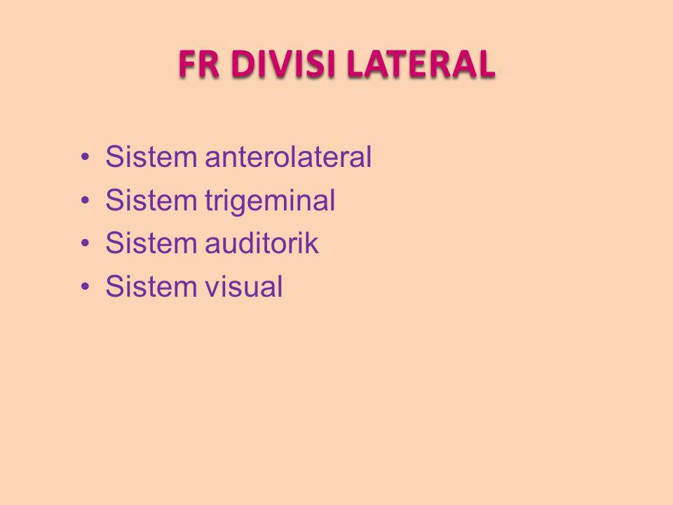 FR DIVISI LATERAL Sistem anterolateral Sistem trigeminal Sistem auditorik Sistem visual