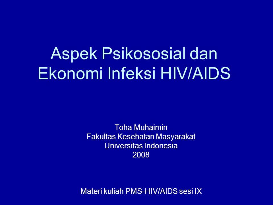 Anak-anak yatim (orphan) Afrika Sub-Sahara: wilayah yang paling menderita (Whiteside, 2001; Lane, 2004) Di wilayah ini, pada 2001 diperkirakan ada sekitar 11 juta anak (< 15 th), yang kehilangan baik salah satu orang tua atau keduanya akibat AIDS (Lane, 2004) Akhir 2003 diperkirakan terdapat 15 juta anak (<18 th) kehilangan salah satu atau kedua orang tua akibat AIDS, dan 82% berada di Afrika Sub- Sahara (USAID, UNICEF dan UNAIDS)