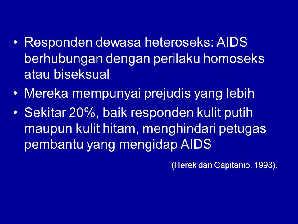 Responden dewasa heteroseks: AIDS berhubungan dengan perilaku homoseks atau biseksual Mereka mempunyai prejudis yang lebih Sekitar 20%, baik responden kulit putih maupun kulit hitam, menghindari petugas pembantu yang mengidap AIDS (Herek dan Capitanio, 1993).