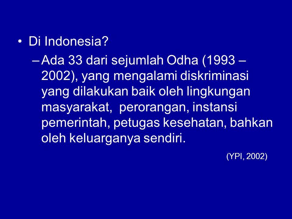 Di Indonesia? –Ada 33 dari sejumlah Odha (1993 – 2002), yang mengalami diskriminasi yang dilakukan baik oleh lingkungan masyarakat, perorangan, instan