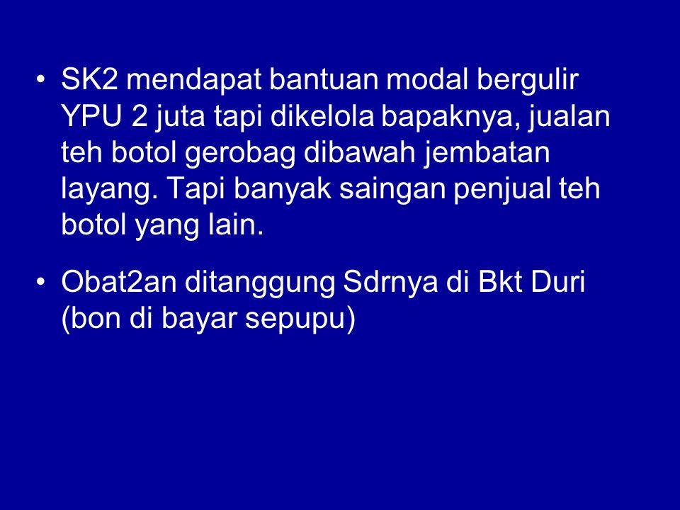 SK2 mendapat bantuan modal bergulir YPU 2 juta tapi dikelola bapaknya, jualan teh botol gerobag dibawah jembatan layang.