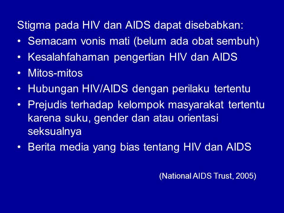 Stigma pada HIV dan AIDS dapat disebabkan: Semacam vonis mati (belum ada obat sembuh) Kesalahfahaman pengertian HIV dan AIDS Mitos-mitos Hubungan HIV/AIDS dengan perilaku tertentu Prejudis terhadap kelompok masyarakat tertentu karena suku, gender dan atau orientasi seksualnya Berita media yang bias tentang HIV dan AIDS (National AIDS Trust, 2005)
