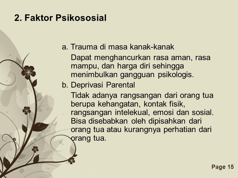 Free Powerpoint TemplatesPage 15 2.Faktor Psikososial a.