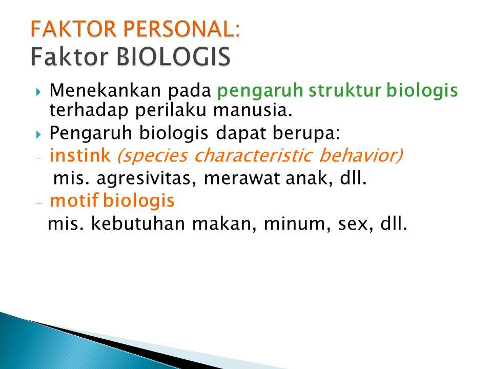  Menekankan pada pengaruh struktur biologis terhadap perilaku manusia.  Pengaruh biologis dapat berupa: - instink (species characteristic behavior)