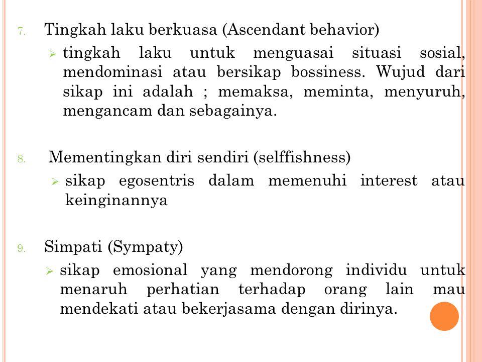 7. Tingkah laku berkuasa (Ascendant behavior)  tingkah laku untuk menguasai situasi sosial, mendominasi atau bersikap bossiness. Wujud dari sikap ini