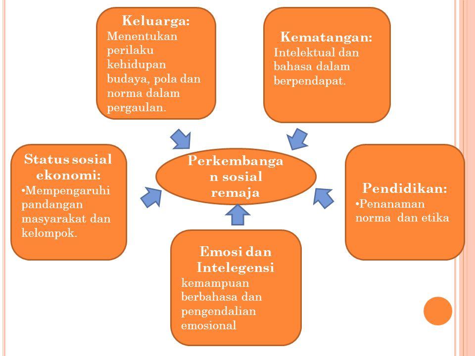 Perkembanga n sosial remaja Keluarga: Menentukan perilaku kehidupan budaya, pola dan norma dalam pergaulan. Status sosial ekonomi: Mempengaruhi pandan