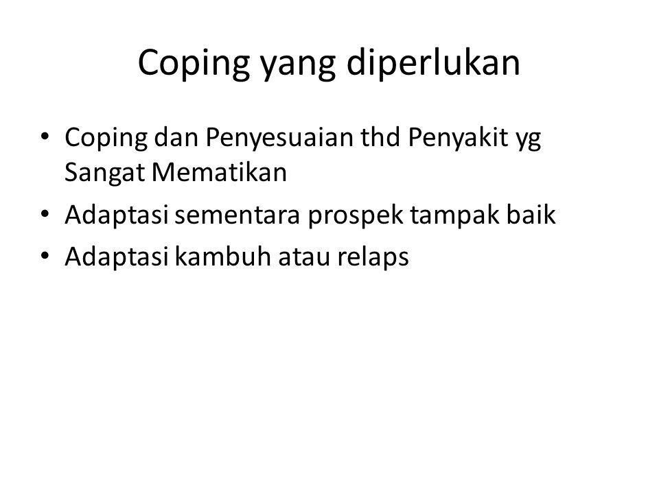 Coping yang diperlukan Coping dan Penyesuaian thd Penyakit yg Sangat Mematikan Adaptasi sementara prospek tampak baik Adaptasi kambuh atau relaps