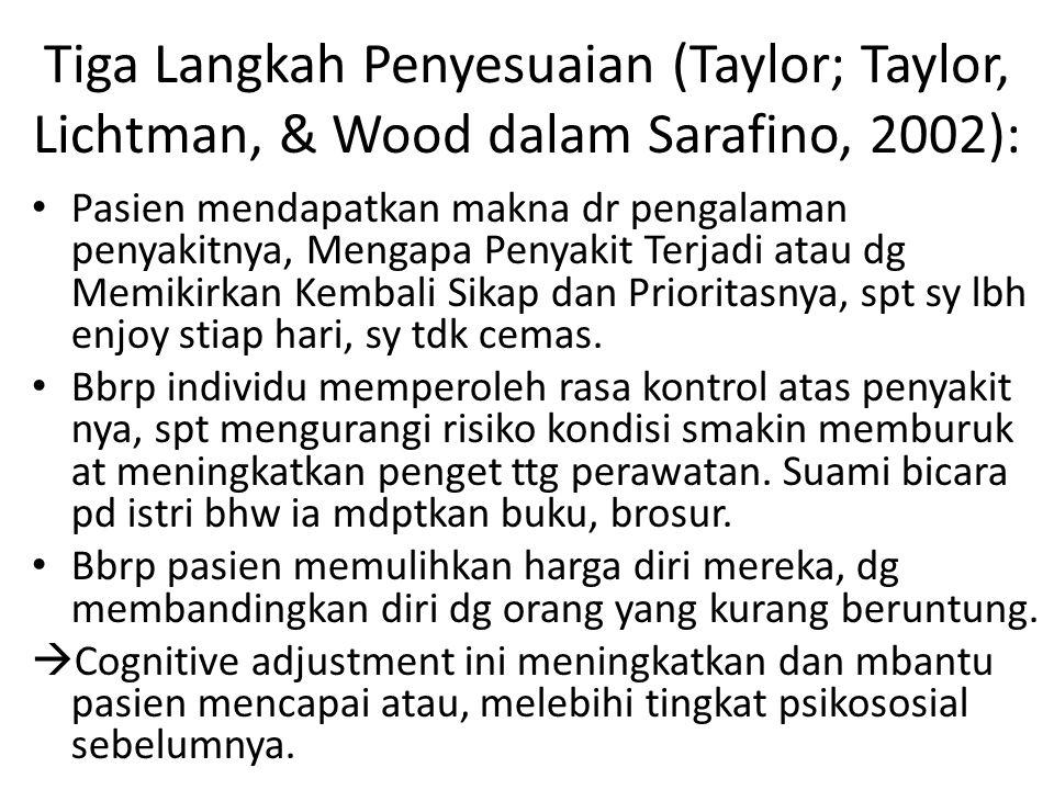 Tiga Langkah Penyesuaian (Taylor; Taylor, Lichtman, & Wood dalam Sarafino, 2002): Pasien mendapatkan makna dr pengalaman penyakitnya, Mengapa Penyakit