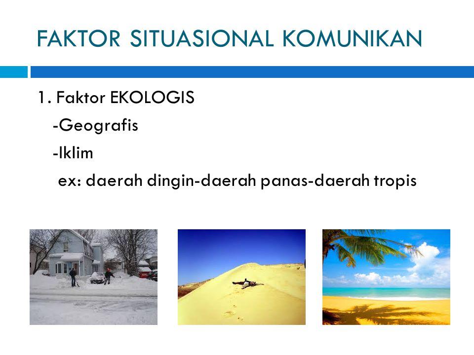 FAKTOR SITUASIONAL KOMUNIKAN 1. Faktor EKOLOGIS -Geografis -Iklim ex: daerah dingin-daerah panas-daerah tropis