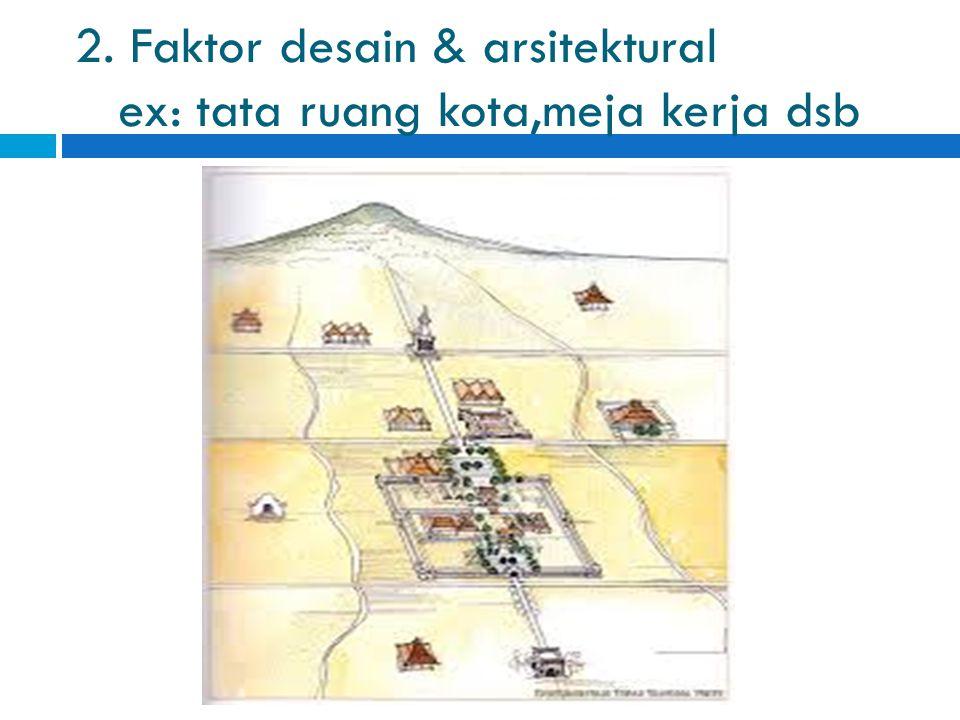 2. Faktor desain & arsitektural ex: tata ruang kota,meja kerja dsb