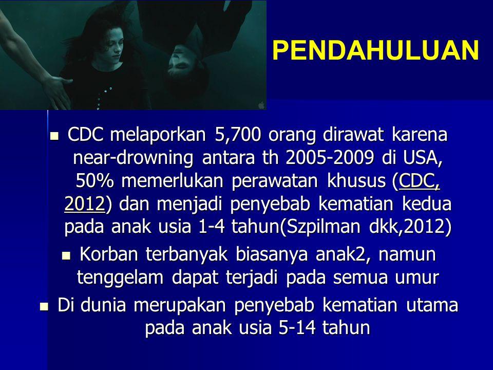 PENDAHULUAN CDC melaporkan 5,700 orang dirawat karena near-drowning antara th 2005-2009 di USA, 50% memerlukan perawatan khusus (CDC, 2012) dan menjadi penyebab kematian kedua pada anak usia 1-4 tahun(Szpilman dkk,2012) CDC melaporkan 5,700 orang dirawat karena near-drowning antara th 2005-2009 di USA, 50% memerlukan perawatan khusus (CDC, 2012) dan menjadi penyebab kematian kedua pada anak usia 1-4 tahun(Szpilman dkk,2012)CDC, 2012CDC, 2012 Korban terbanyak biasanya anak2, namun tenggelam dapat terjadi pada semua umur Korban terbanyak biasanya anak2, namun tenggelam dapat terjadi pada semua umur Di dunia merupakan penyebab kematian utama pada anak usia 5-14 tahun Di dunia merupakan penyebab kematian utama pada anak usia 5-14 tahun