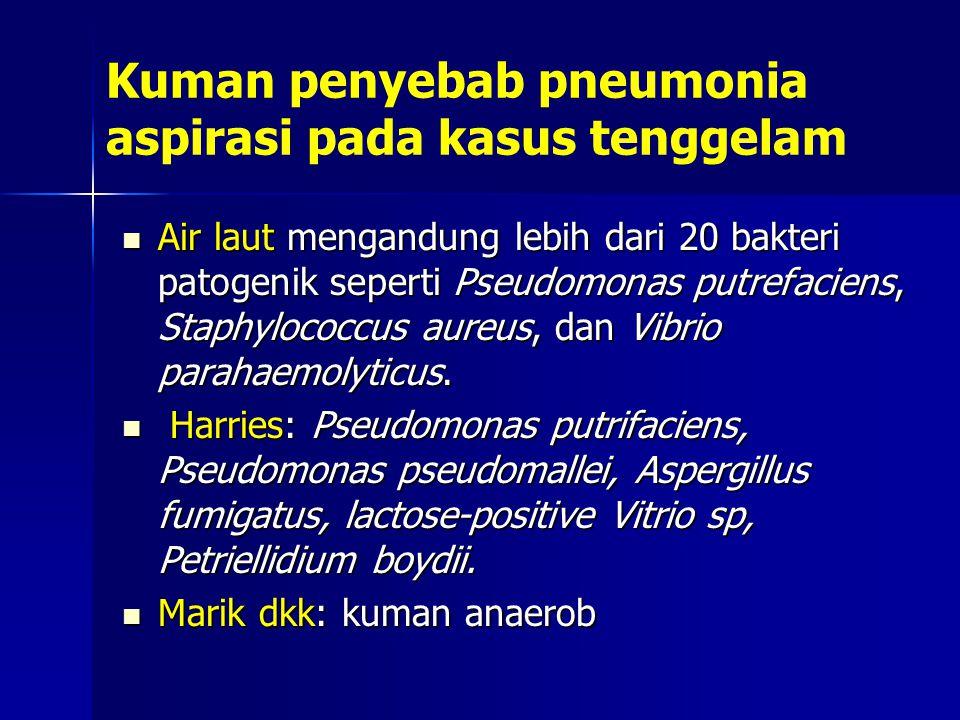 Kuman penyebab pneumonia aspirasi pada kasus tenggelam Air laut mengandung lebih dari 20 bakteri patogenik seperti Pseudomonas putrefaciens, Staphyloc
