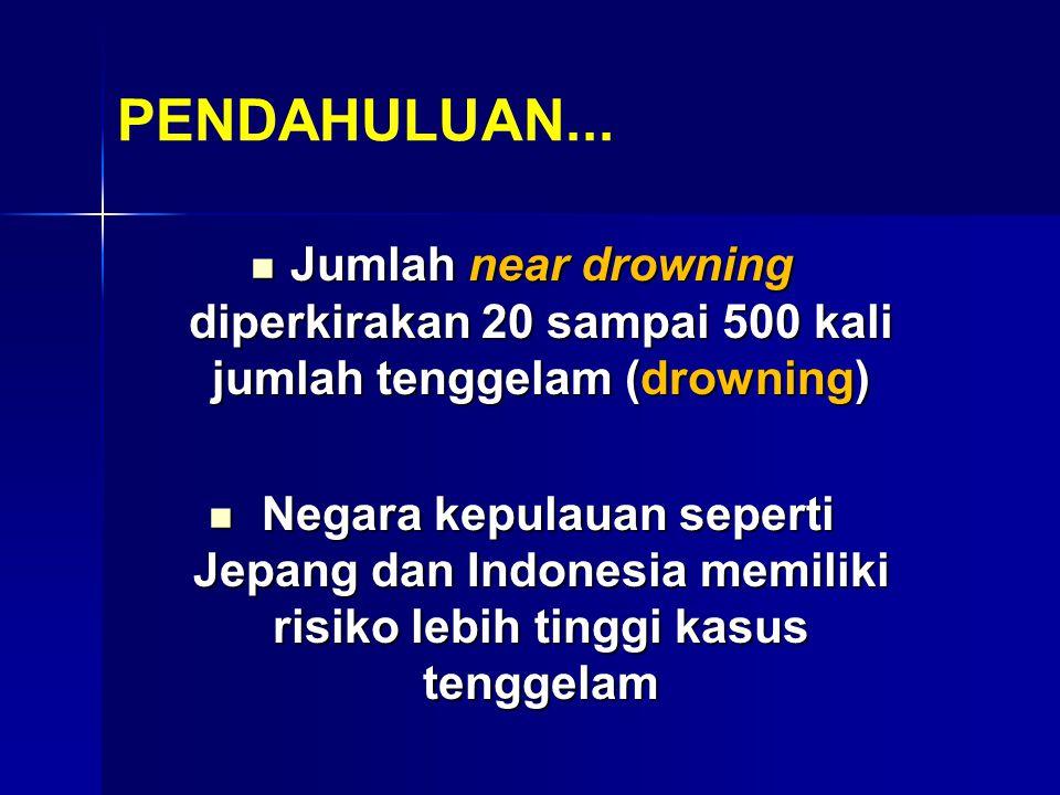 PENDAHULUAN... Jumlah near drowning diperkirakan 20 sampai 500 kali jumlah tenggelam (drowning) Jumlah near drowning diperkirakan 20 sampai 500 kali j