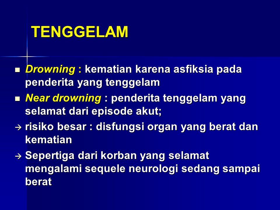 (Lee dkk): TENGGELAM Tenggelam (Drowning) :kematian makhluk hidup karena terendam air Tenggelam (Drowning) :kematian makhluk hidup karena terendam air Delayed drowning atau secondary drowning : pasien selamat dari bahaya tenggelam tetapi mengalami perburukan mengarah ke kematian Delayed drowning atau secondary drowning : pasien selamat dari bahaya tenggelam tetapi mengalami perburukan mengarah ke kematian Near-drowning : kehilangan kesadaran akibat kejadian tenggelam tapi tidak mengarah ke kematian  dapat menjadi delayed drowning Near-drowning : kehilangan kesadaran akibat kejadian tenggelam tapi tidak mengarah ke kematian  dapat menjadi delayed drowning Sindrom aspirasi: masuknya benda asing ke dalam paru: berupa cairan iritatif, benda-benda infeksius atau benda tertentu Sindrom aspirasi: masuknya benda asing ke dalam paru: berupa cairan iritatif, benda-benda infeksius atau benda tertentu