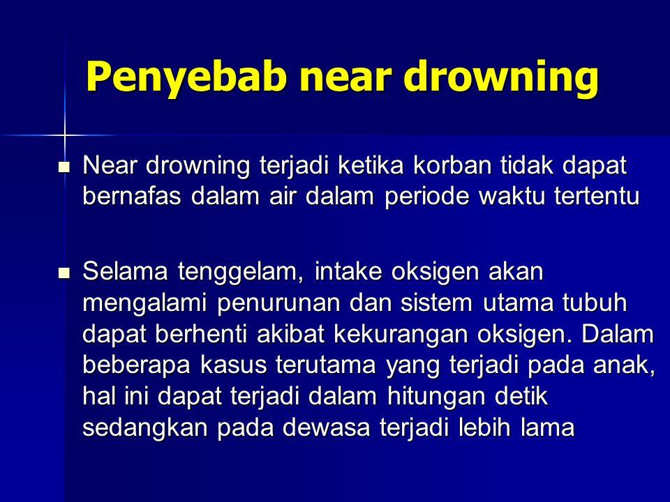 Penyebab near drowning Near drowning terjadi ketika korban tidak dapat bernafas dalam air dalam periode waktu tertentu Near drowning terjadi ketika ko