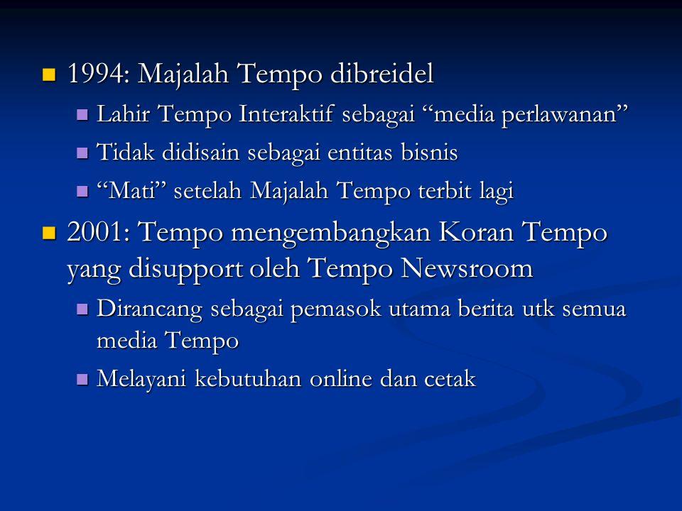 "1994: Majalah Tempo dibreidel 1994: Majalah Tempo dibreidel Lahir Tempo Interaktif sebagai ""media perlawanan"" Lahir Tempo Interaktif sebagai ""media pe"