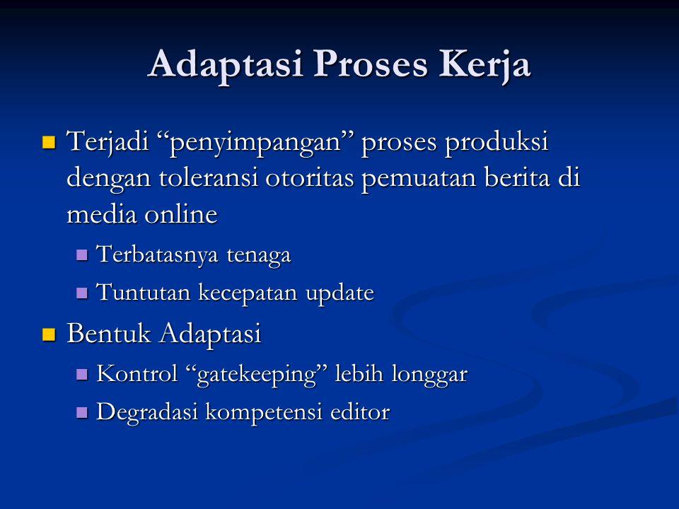 """Adaptasi Proses Kerja Terjadi """"penyimpangan"""" proses produksi dengan toleransi otoritas pemuatan berita di media online Terjadi """"penyimpangan"""" proses p"""