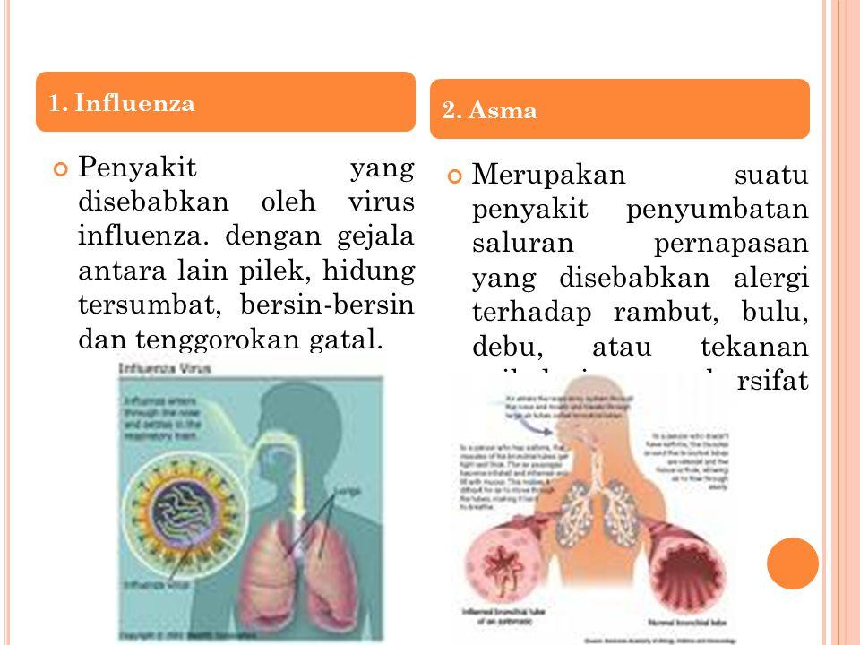 Penyakit yang disebabkan oleh virus influenza. dengan gejala antara lain pilek, hidung tersumbat, bersin-bersin dan tenggorokan gatal. Merupakan suatu