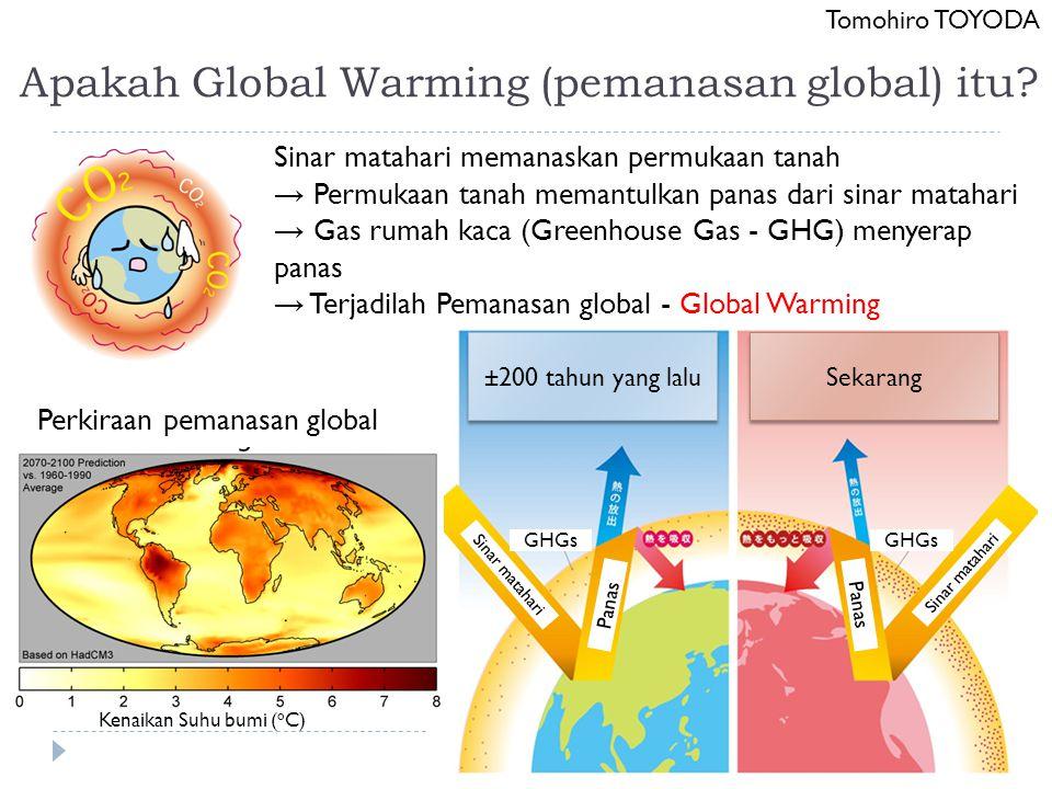 Apakah Global Warming (pemanasan global) itu? Tomohiro TOYODA Sinar matahari memanaskan permukaan tanah → Permukaan tanah memantulkan panas dari sinar