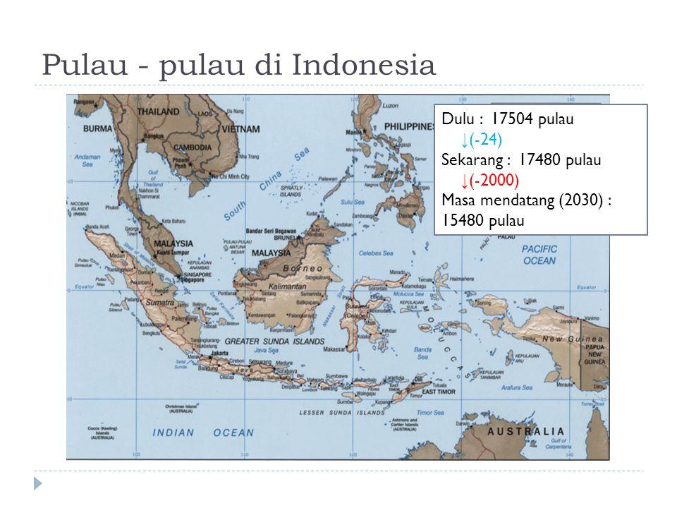 Pulau - pulau di Indonesia Dulu : 17504 pulau ↓ (-24) Sekarang : 17480 pulau ↓ (-2000) Masa mendatang (2030) : 15480 pulau