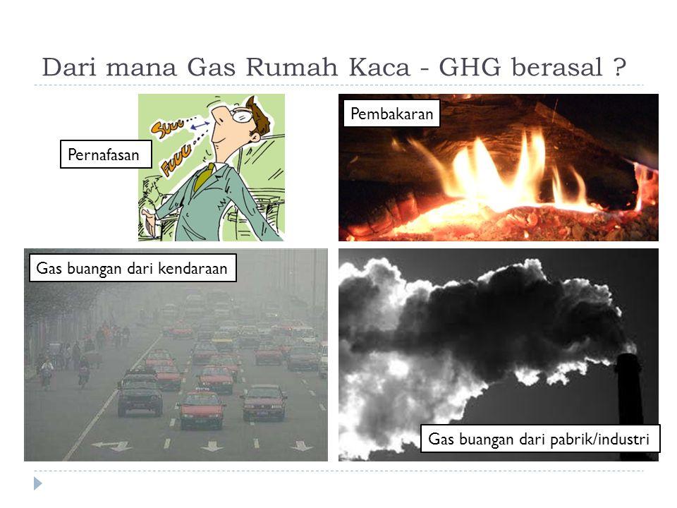 Dari mana Gas Rumah Kaca - GHG berasal ? Pernafasan Pembakaran Gas buangan dari kendaraan Gas buangan dari pabrik/industri