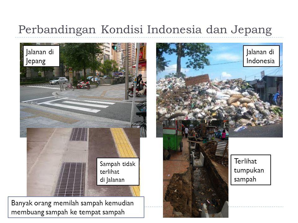 Perbandingan Kondisi Indonesia dan Jepang Jalanan di Jepang Jalanan di Indonesia Terlihat tumpukan sampah Sampah tidak terlihat di Jalanan Banyak oran