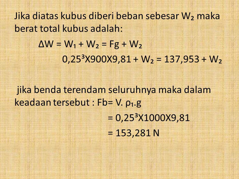 Jika diatas kubus diberi beban sebesar W₂ maka berat total kubus adalah: ∆W = W₁ + W₂ = Fg + W₂ 0,25³X900X9,81 + W₂ = 137,953 + W₂ jika benda terendam