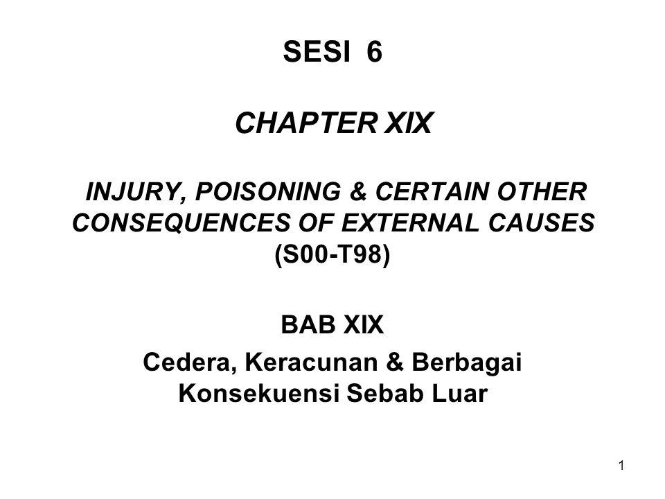 1 SESI 6 CHAPTER XIX INJURY, POISONING & CERTAIN OTHER CONSEQUENCES OF EXTERNAL CAUSES (S00-T98) BAB XIX Cedera, Keracunan & Berbagai Konsekuensi Seba