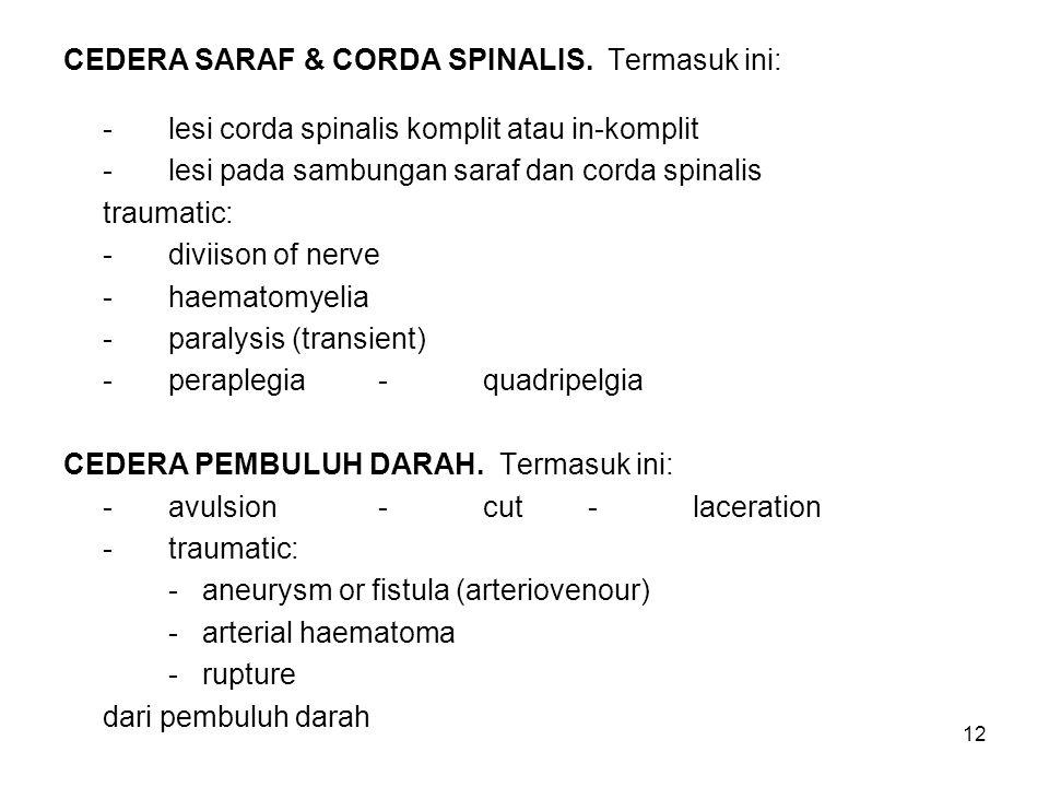 12 CEDERA SARAF & CORDA SPINALIS. Termasuk ini: -lesi corda spinalis komplit atau in-komplit -lesi pada sambungan saraf dan corda spinalis traumatic:
