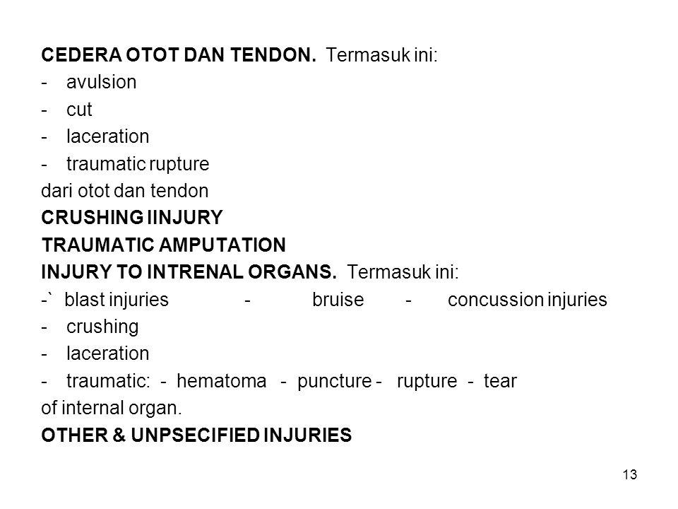 13 CEDERA OTOT DAN TENDON. Termasuk ini: -avulsion -cut -laceration -traumatic rupture dari otot dan tendon CRUSHING IINJURY TRAUMATIC AMPUTATION INJU