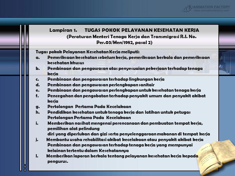 Lampiran 1. TUGAS POKOK PELAYANAN KESEHATAN KERJA (Peraturan Menteri Tenaga Kerja dan Transmigrasi R.I. No. Per.03/Men/1982, pasal 2) Tugas pokok Pela