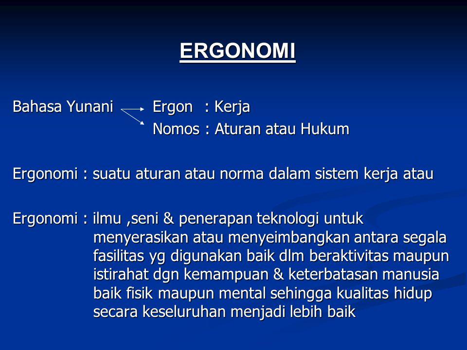 ERGONOMI Bahasa Yunani Ergon : Kerja Nomos : Aturan atau Hukum Ergonomi : suatu aturan atau norma dalam sistem kerja atau Ergonomi : ilmu,seni & pener