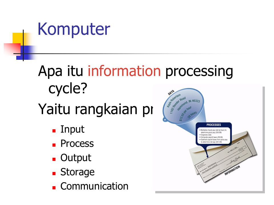 Komputer Apa itu information processing cycle? Yaitu rangkaian proses : Input Process Output Storage Communication