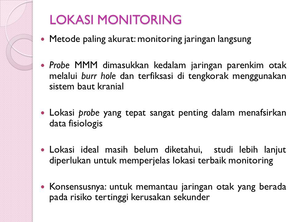 LOKASI MONITORING Metode paling akurat: monitoring jaringan langsung Probe MMM dimasukkan kedalam jaringan parenkim otak melalui burr hole dan terfiks