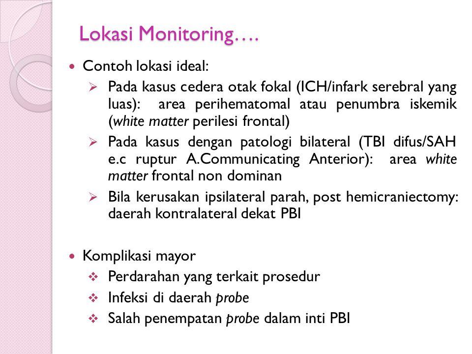 Lokasi Monitoring…. Contoh lokasi ideal:  Pada kasus cedera otak fokal (ICH/infark serebral yang luas): area perihematomal atau penumbra iskemik (whi