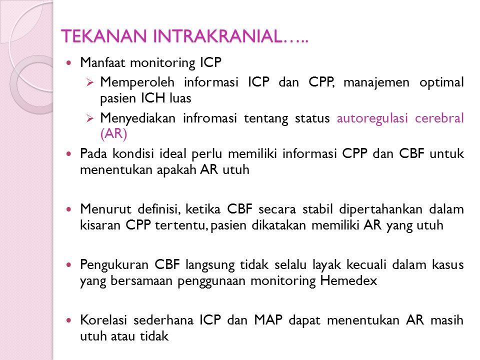 TEKANAN INTRAKRANIAL….. Manfaat monitoring ICP  Memperoleh informasi ICP dan CPP, manajemen optimal pasien ICH luas  Menyediakan infromasi tentang s